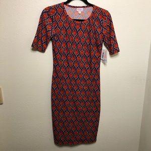 LulaRoe Julia Dress Maroon Aztec Graphic